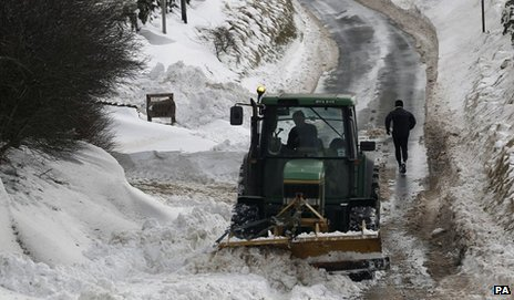 A road being cleared of snow near Burnley last March