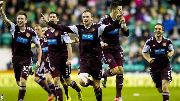 Ryan Stevenson (centre) is hoping for further cheer in the Edinburgh derby