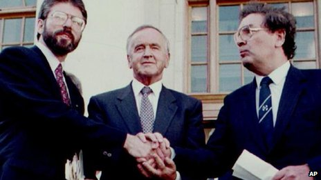 Albert Reynolds with Gerry Adams and John Hume in 1994