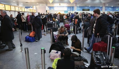 Delayed passengers at Gatwick