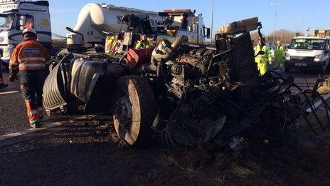 Part of lorry recovered from M1 ditch crash
