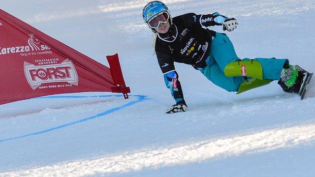 Austrian Marion Kreiner in snowboard parallel slalom action