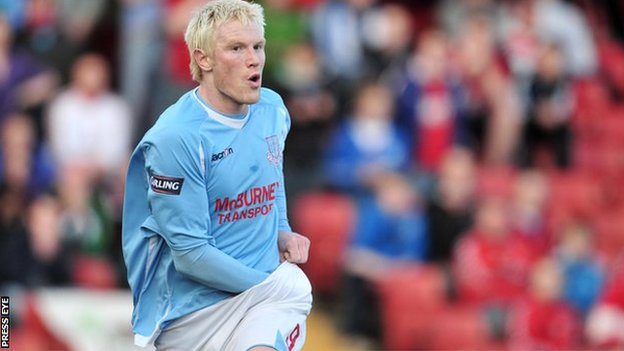 Andy Smith in action for Ballymena United