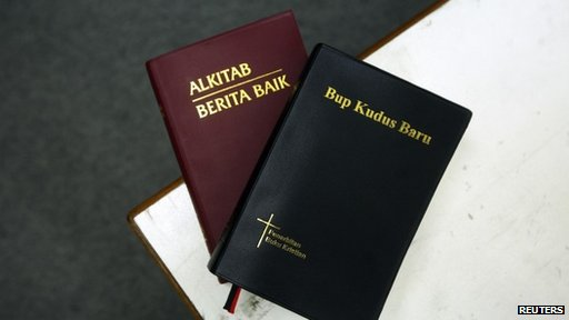 Two copies of the Bible in Malay (left) and the Iban dialect are seen in this picture illustration taken in Kuala Lumpur