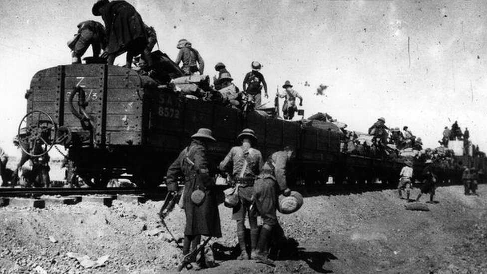 September 1915: Rhodesian soldiers getting off a train in the desert in the war in South West Africa. (Photo by Hulton Archive/Getty Images)
