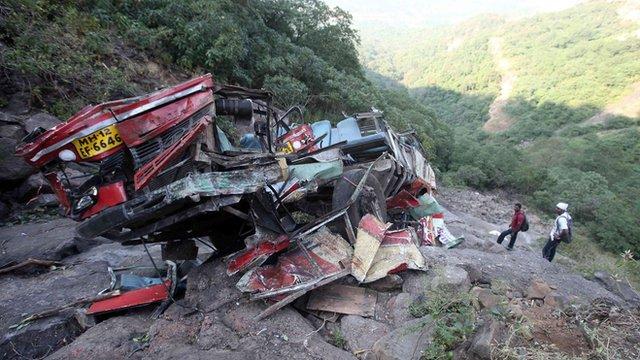 Remains of a bus crash near Mumbai, India