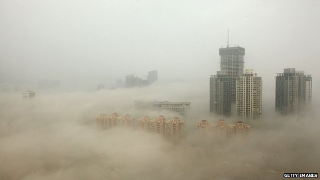 Buildings are shrouded in smog in Lianyungang, China