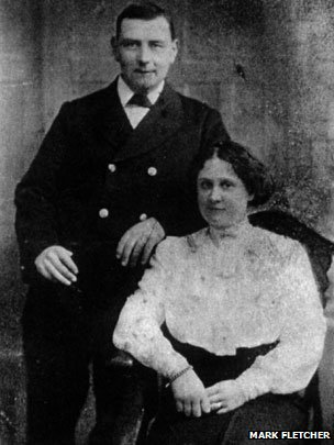 Wedding photo showing Gus Smith and Lily Powell