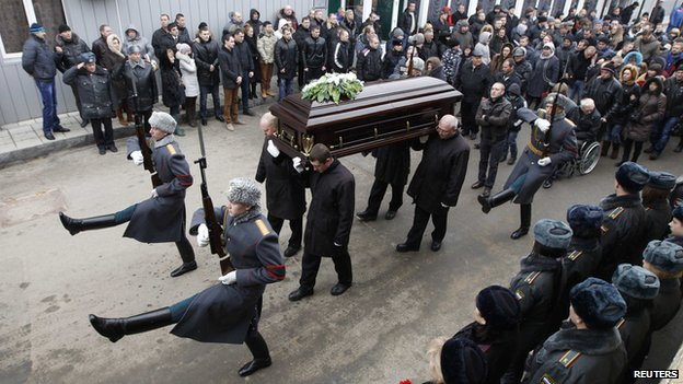 Funeral of policeman Dmitry Makovkin, 2 Jan 14