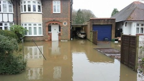 Geoff Spreadbury's flooded home in Horley