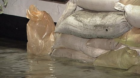 Sandbags in Looe,