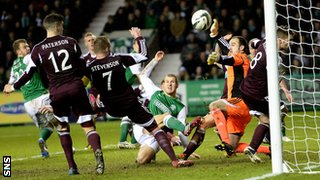 James Collins scores for Hibernian against Hearts