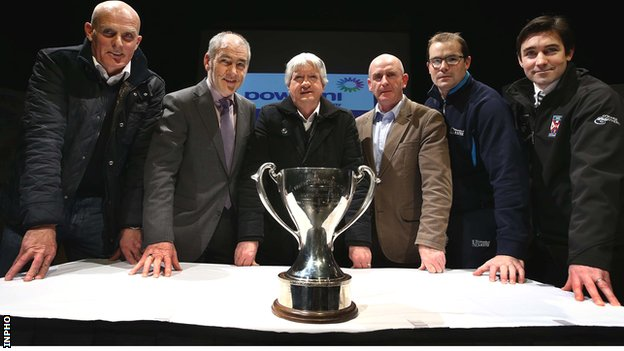 Managers and team representatives at the launch of the 2014 McKenna Cup - Liam Bradley (Antrim), Mickey Harte (Tyrone), Brian McIver (Derry), Peter McDonnell (Armagh), Paul Rouse (UUJ) and Anthony McGrath (Queen's)