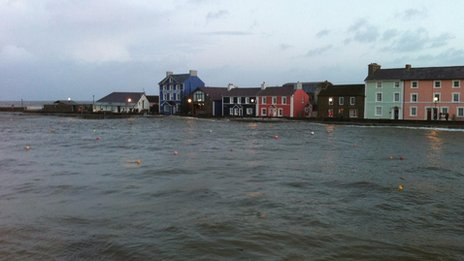Aberaeron harbour in Ceredigion an hour before high tide on Friday morning
