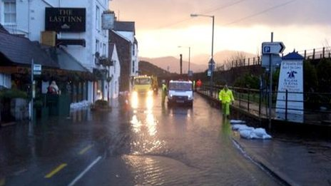 The road was closed near the Last Inn public house in Barmouth, Gwynedd