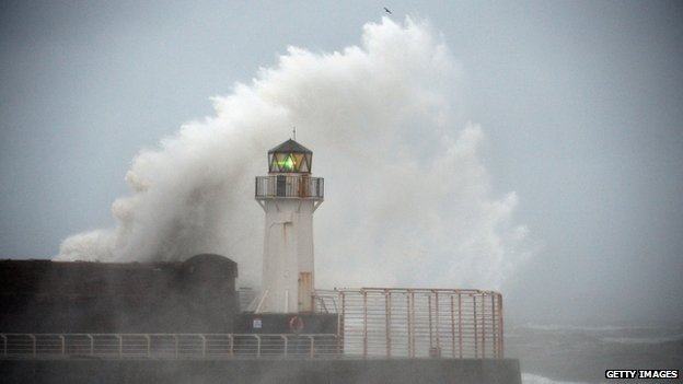 Waves crashing over lighthouse at Ardrossan