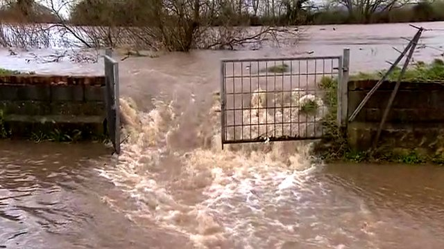 River Severn bursting its banks in Minsterworth