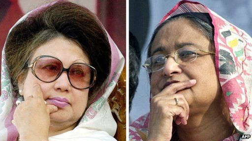 BNP leader Khaleda Zia (left) and Awami League leader Sheikh Hasina