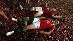 Alun Wyn Jones and Jamie Roberts roll around in the confetti after the British & Irish Lions beat Australia 41-16 in the third and final Test match in Sydney to complete a 2-1 series win.