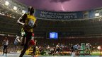 Lightning strikes the Luzhniki Stadium in Moscow at Jamaica's Usain Bolt wins the 100m final at the 2013 World Athletics Championships. Bolt clocked 9.77 seconds to finish ahead of American Justin Gatlin (9.85) and fellow Jamaican Nesta Carter (9.95).