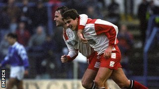 Kidderminster Harriers goal heroes Jon Purdie (left) and Neil Cartwright celebrate at St Andrew's, January 1994