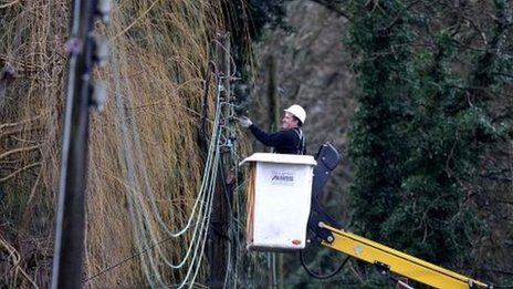 Engineer fixes power lines