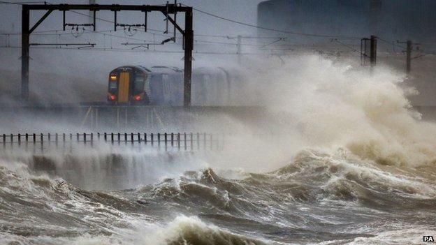 Train travelling along the coast at Saltcoats