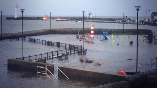 Play park flooded in Donaghadee harbour