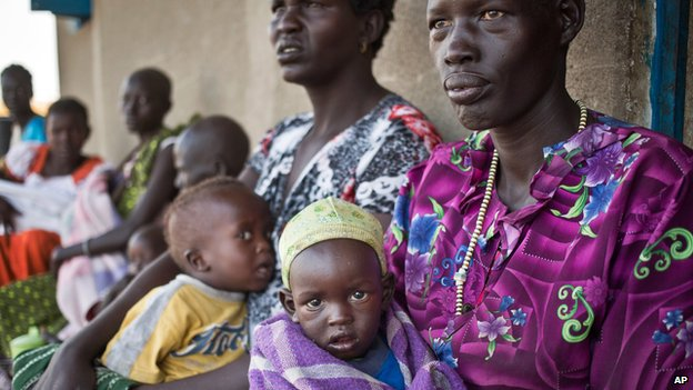 Displaced mothers and children at Awerial in South Sudan on 2 January 2014