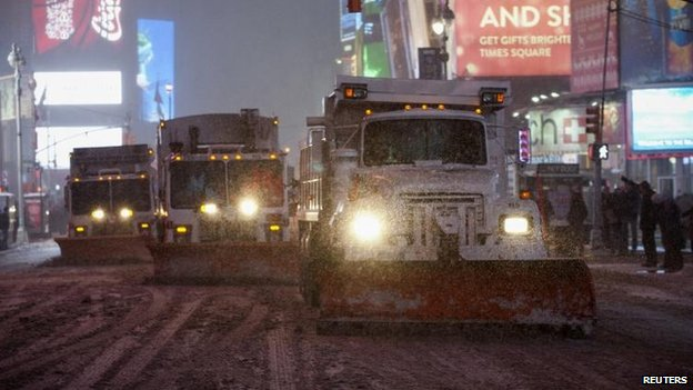Snow ploughs in New York, 3 Jan