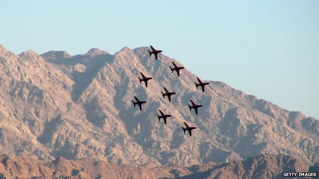 Red Arrows flying over the Jordanian city of Aqaba, 2007