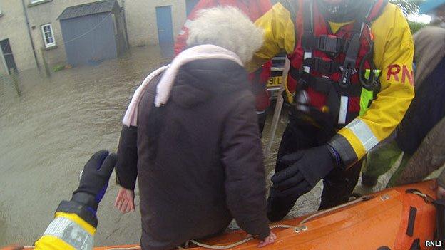 RNLI flood rescue team at a farm at Llanbedr, Gwynedd