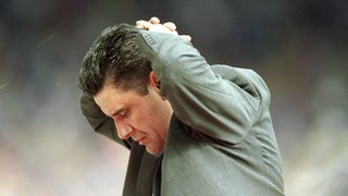 Aston Villa boss John Gregory feels the pain of FA Cup final defeat, Wembley, May 2000