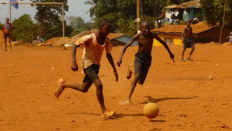 Young footballers in Freetown