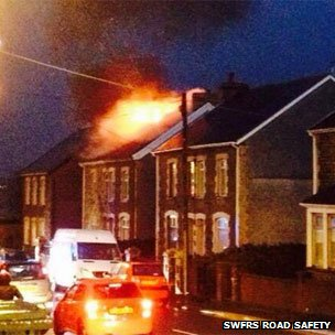 Lightning struck a house in Caerphilly county on Friday afternoon