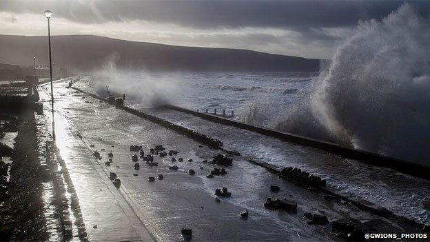 Barmouth sea front in Gwynedd, earlier on Friday