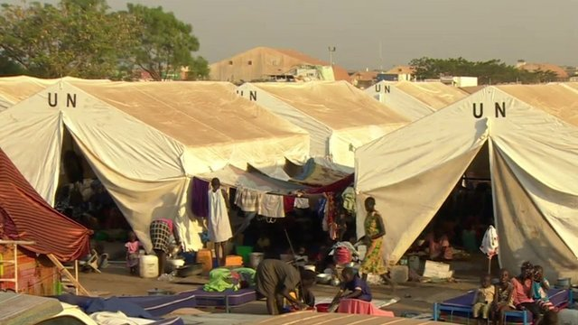 A refugee camp in Juba