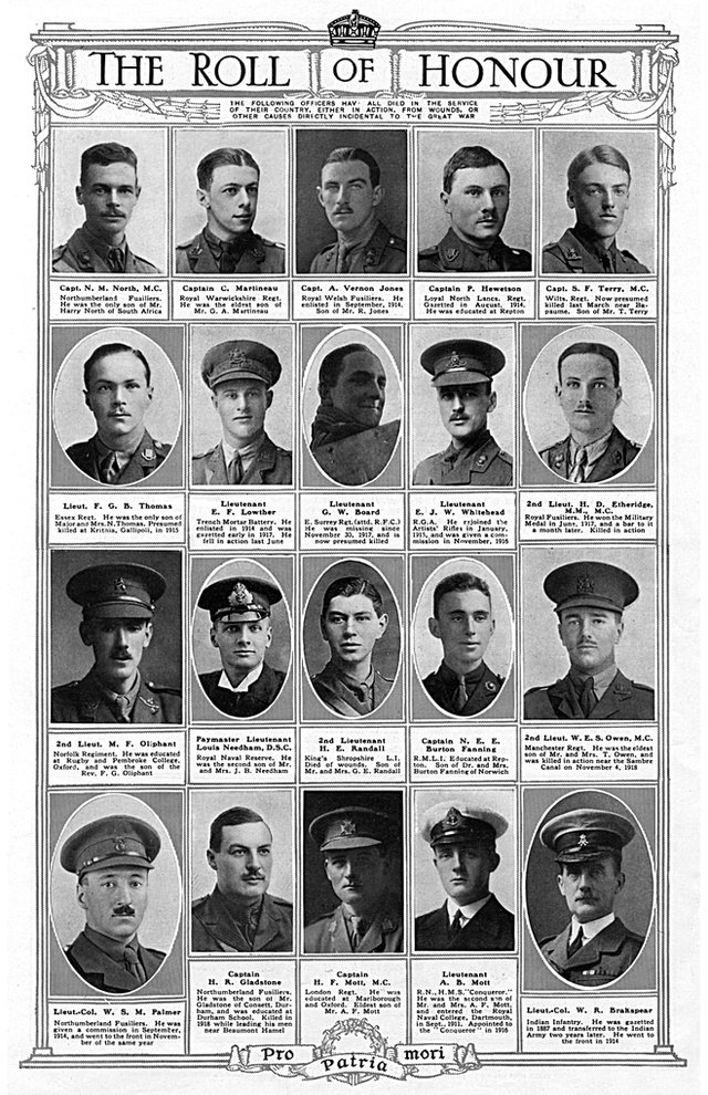 Sphere magazine publishes photos of Wilfred Owen and other officers killed in action