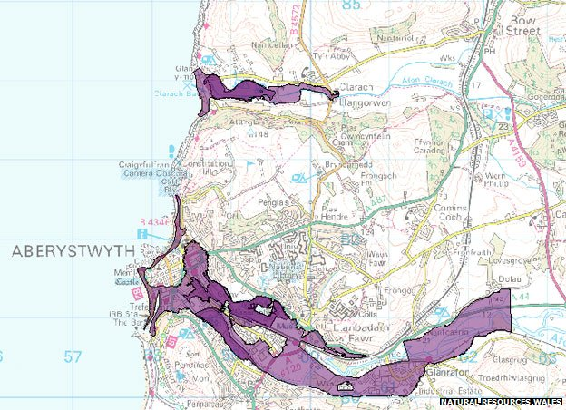 The flood map with the severe warnings in Ceredigion
