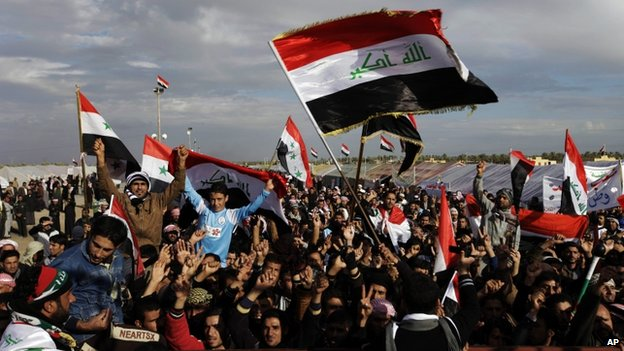 Protesters chant slogans against Iraq's Shia-led government during a demonstration in Ramadi, Iraq, in this file photo from 9 January 2013.