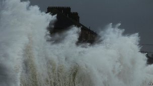 Saltcoats, North Ayrshire, was among areas battered by the weather on Friday