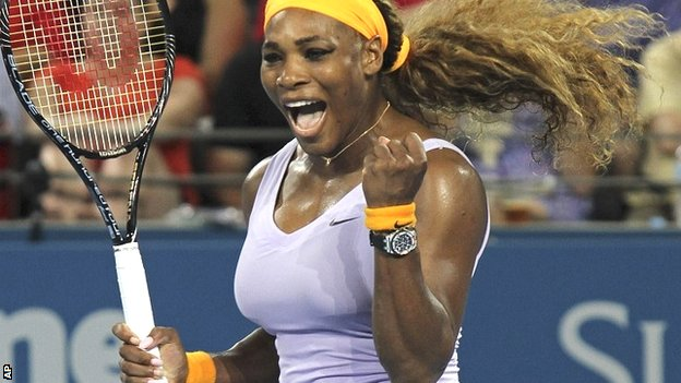 Serena Williams celebrates her Brisbane victory