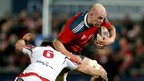 Ulster captain Robbie Diack in action against Munster second row Paul O'Connell during the battle of the Irish provinces