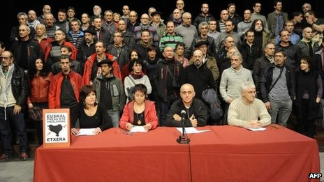 Some 70 former Eta prisoners gather for a news conference in the Spanish Basque town of Durango