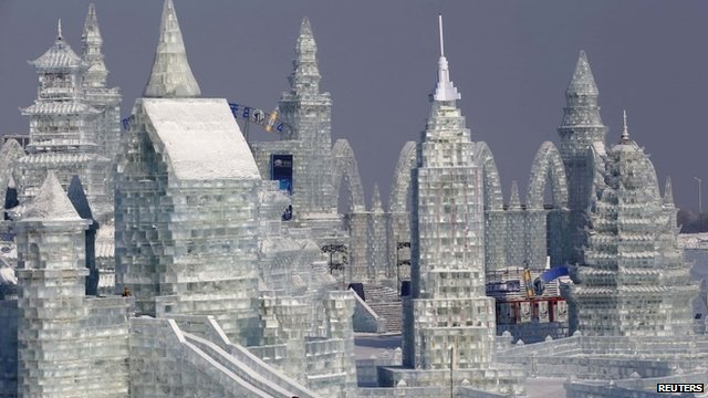Large snow sculpture at Harbin International Ice Festival