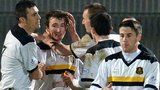 Dumbarton players celebrating
