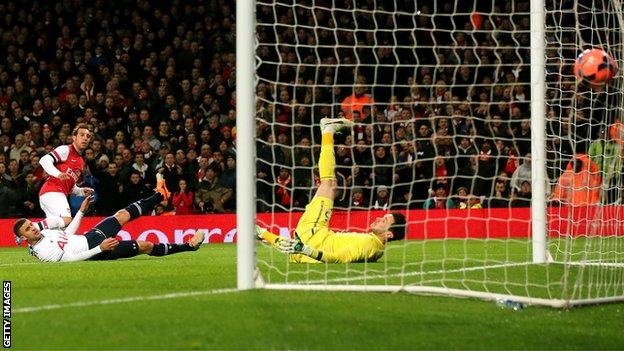 Santi Cazorla scores for Arsenal