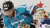 Belfast's Adam Keefe tries to beat Dundee goalie Dan Bakala in Saturday's game