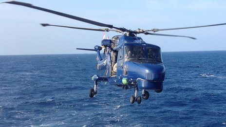 Helicopter lands on the Norwegian frigate HNoMS Helge Ingstad