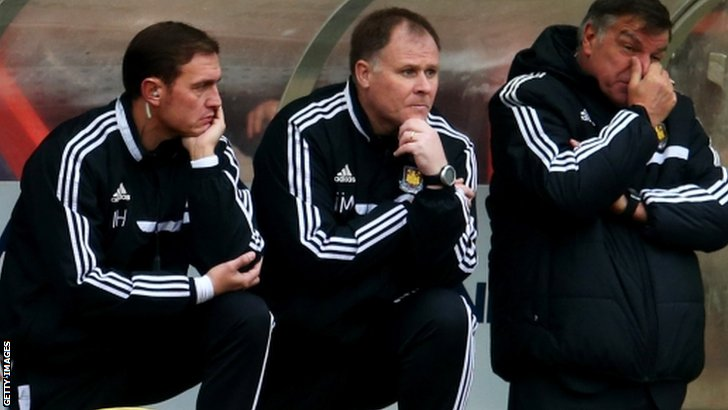 Sam Allardyce (far right) with his coaching staff